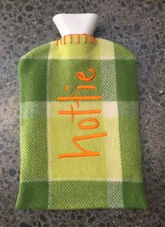 Limited edition retro vintage NZ wool blanket, handmade original embroidered hot water bottle cover, lovingly sewn by Sandi and her mum Lois. Bottle Cover, Fiber Art, Retro Vintage, Water Bottle, Crafty, Sewing, Winter, Hot, Green