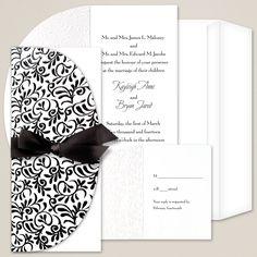 Brocade Wedding Invitation | #exclusivelyweddings | #blackandwhitewedding