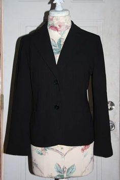 Ann Taylor Black with small Red Pinstripes Button Blazer Jacket Size 6 #AnnTaylor #BasicJacket