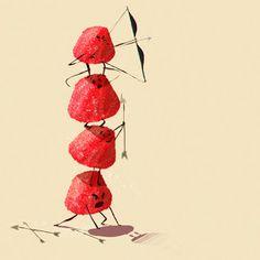 Tagada's war - fraise - tagada - candy - sugar - red - yummy - art - illustration