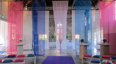 Beautiful voile wedding draping in industrial setting