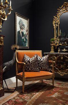 Charcoal Walls, Orange Velvet French Settee, and Scalamandre Leopard Pillows. Decor Interior Design, Interior Decorating, Fall Decorating, South Shore Decorating, Estilo Kitsch, Decoration Baroque, Dark Walls, Grey Walls, Dark Interiors