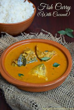 Poornima's Cook Book: Meen Kulambu / Fish Curry with Coconut - Amma's Special Veg Recipes, Curry Recipes, Seafood Recipes, Indian Food Recipes, Ethnic Recipes, Fish Curry Coconut, Fish Kulambu, Kerala Fish Curry