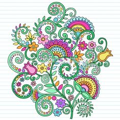 Flowers and Vines Paisley Henna Notebook Doodles by blue67 - Stock Vector