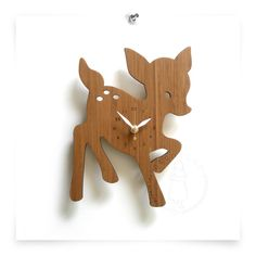 Bamboo deer clock for nursery. 18.75 x 25cm $83.85 from Etsy