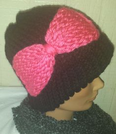 Black Beanie Pink Bow by AmberGlamourLand on Etsy, $25.00