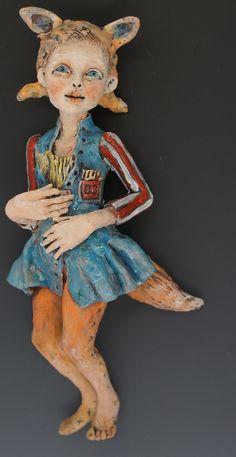 Foxy 86 wall sculpture by ceramic artist Victoria Rose Martin