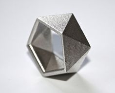 GEO  Sterling Silver faceted modern geometric by ButterscotchofBK 3-D printed ring - L<3VE!!!!