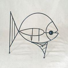 Vintage Mid Century Modern Black Wire Fish
