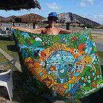 Cangas de Praia Andreza Katsani por Andreza Katsani Surfboard, Tapestry, Decor, Beach Quilt, Hanging Tapestry, Decorating, Dekoration, Deco, Tapestries