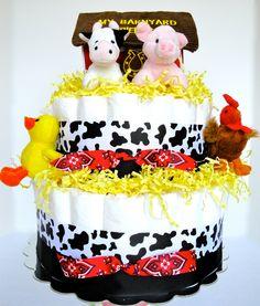 Baby Diaper Cake - Farm Animal Baby Shower Diaper Cake Centerpiece - 2 Tier - http://www.babyshower-decorations.com/baby-diaper-cake-farm-animal-baby-shower-diaper-cake-centerpiece-2-tier.html