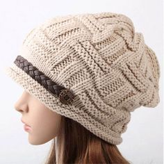 Off White Fashion Baggy Knit Snow Hat Winter Beanie Crochet Cap;Our product made with high quality soft material,you will feel comfortable. Not only keeps you warm in winter,but also makes you more fashion.