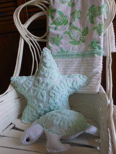 Chenille Starfish Pillow Under the Sea White and Sea Foam Green by searchnrescue2. $45.00, via Etsy.