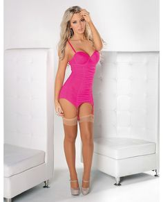 Mesh Cinched Bustier w/Garters, G-String & Nude Hose Neon Pink SM