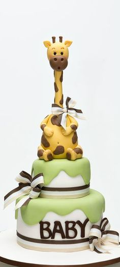 Giraffe Baby Shower Cake: since I want to do my someday daughter's room all in giraffes Pretty Cakes, Cute Cakes, Beautiful Cakes, Amazing Cakes, Torta Baby Shower, Fondant Cakes, Cupcake Cakes, Fondant Baby, Giraffe Cakes