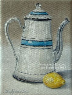 Itty Bitty Bits of Pretty. . .#Vintage #French #Coffee pot with #Lemon -Still Life 3x4 Original Painting in OIL by LARA. ....via Etsy.