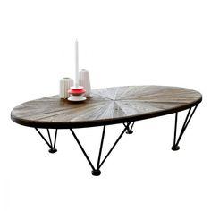 Couchtisch Metall und Ulme – Wohnzimmer-Tische 140x80 Lancelot