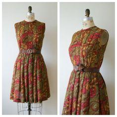 60s Dress. Vintage Pleated Dress. Autumn Swirl Day Dress. Extra Small / Small.