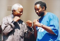 Nelson Mandela shares some boxing tactics with world heavyweight boxer Lennox Lewis Nelson Mandela, Lennox Lewis, Democratic Election, Sport Boxing, Professional Boxing, Political Leaders, Head Of State, K 1, Muhammad