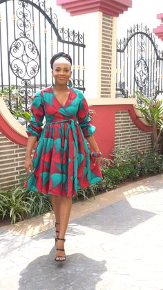 Isn't this wrap dress just divine? Pretty colours and available with matching accessories African American Fashion, African Fashion Ankara, Latest African Fashion Dresses, African Inspired Fashion, African Print Fashion, Africa Fashion, African Style, African Bridesmaid Dresses, African Dresses For Women