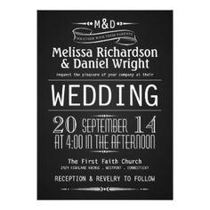 "Chalkboard Monogram Typography Wedding Invitations 5"" X 7"" Invitation Card"