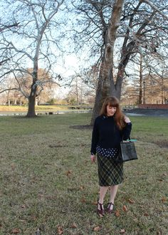 Pattern mixing with plaid wool pencil skirt, navy sweater, polka dot button down, and t-strap shoes from In Our Happy Place