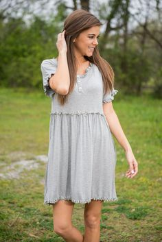 Save It For Me Dress, Heather Gray || It only takes seeing this relaxed dress one time to know that you must have one! The gray makes it so chic and effortless to style! Then the ruffles and crochet trim add just the right amount of pizzazz to keep it interesting!