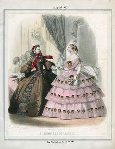 Le Moniteur de la Mode, August 1857. LAPL Visual Collections.  Civil War Era Fashion Plate