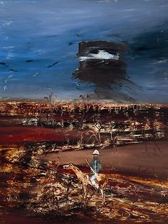"""Sidney Nolan (Australian, Ned Kelly and Mounted Trooper, Oil on board, x 122 cm. Sidney Nolan, Dogs Playing Poker, Victoria Art, Ned Kelly, Art Station, Indigenous Art, Melbourne, Sydney, Australian Artists"