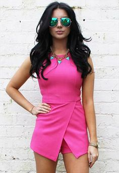 Skort Playsuit Hot Pink Wrap Over Mini Short Size 8 10 12 from OneNationClothing Wrap Skort, Playsuits, Hot Pink, Boutique, Mini, Projects, Clothes, Dresses, Women