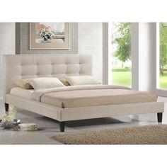 Baxton Studio Quincy Light Beige Linen Platform Bed - King Size - Overstock™ Shopping - Great Deals on Baxton Studio Beds