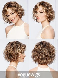 The Sweet Talk Lace Front Wig by Gabor is thoroughly modern and remarkably natural looking. Unstructured air-dried waves and a light, comfortable fit, make today's popular crop a must-have addition to any wig wardrobe - Frisuren - Pinner Curly Hair Styles, Curly Hair Cuts, Short Hair Cuts, Short Permed Hair, Short Layered Curly Hair, Wig Styles, Short Pixie, Long Hair, Short Wavy Haircuts