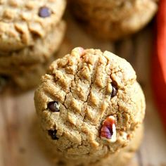Pillowy Peanut Butter Cookies with buttery pecans and chocolate chips. V