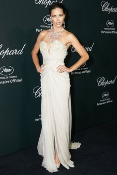 Cannes Film Festival 2014 – Chopard Backstage Party - May 19 2014  Adriana Lima wore a gown by Elie Saab Couture.