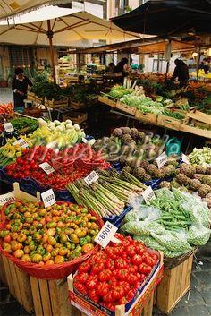 Italian market place in Rome, Campo dei Fiori, province of Rome , Lazio region Italy
