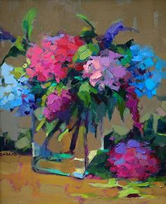 'Just Picked' By Trisha Adams. ❀ Blooming Brushwork ❀ - Garden & Still Life Flower Painting. Paintings I Love, Flower Paintings, Painting Flowers, Hydrangea Painting, Tree Paintings, Garden Painting, Art Flowers, Easy Paintings, Watercolor Flowers
