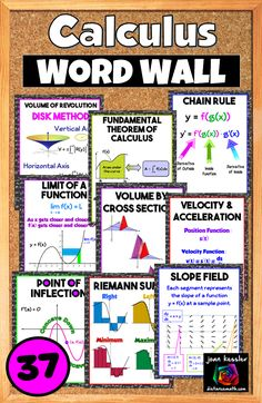 37 topics in Calculus are covered by these posters. Create a Word Wall or use for a Bulletin Board. These are visual explorations of essential topics in Calculus. get your students thinking Calculus the minute they walk into your classroom. Teacher Tools, Math Teacher, Teaching Math, Maths, Teaching Ideas, College Math, College School, High School, Flipped Classroom