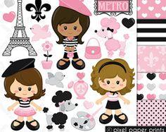 Parisian Girls - Clip art and digital paper set - Paris clipart Paris Clipart, Girls Clips, Clip Art, Photoshop Elements, Digital Stamps, Print And Cut, Planner Stickers, Art Images, Art Journals