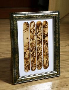 pyrography(wood burning) on icecream sticks.  try on small wooden spoons / Czech design