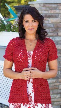 CW_Creative Crochet in a Day_Easy Days Jacket Crochet Edging Patterns, Crochet Coat, Crochet Cardigan Pattern, Crochet Jacket, Crochet Clothes, Crochet Summer Tops, Crochet Afgans, Short Sleeve Cardigan, Google Translate
