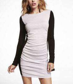 LUREX COLOR BLOCK SWEATER DRESS at Express #ExpressHoliday