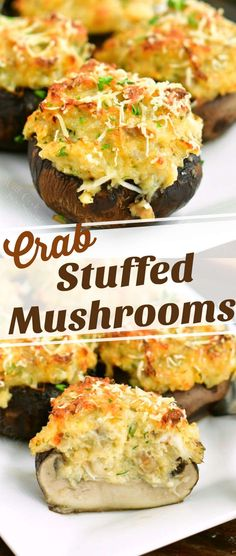 These stuffed mushrooms are a piece of food heaven with a perfect combination of cream cheese, herbs, claw or lump crab meat, and grated Parmesan cheese. Crab Recipes, Easy Appetizer Recipes, Yummy Appetizers, Appetizers For Party, Crab Appetizer, Crab Meat Appetizers, Lump Crab Meat Recipes, Ramen Recipes, Fun Recipes
