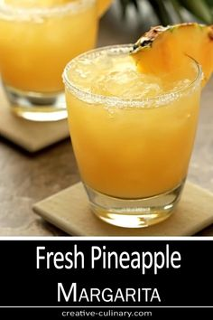 This Fresh Pineapple Margarita Cocktail uses fresh fruit, good tequila, and real orange liqueur. Using the best ingredients makes a huge difference! Pinapple Margarita, Pineapple Cocktail, Pineapple Drinks, Margarita Cocktail, Fruit Drinks, Fresh Pineapple Recipes, Peach Margarita, Beverages, Best Nutrition Food