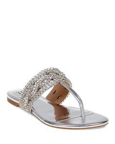 Badgley Mischka Trent Embellished Metallic Leather Thong Sandals