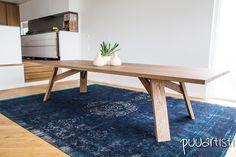 Minimal design white oak large dining table. Design by Puuartisti, Finland.