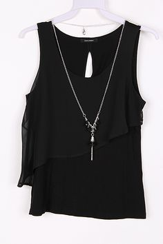 Lilly Chiffon Top in Black