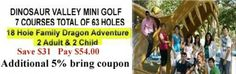 Dinosaur Valley Mini Golf Coupon - Save $31 + 5% more with coupon Ontario Attractions, Enjoy Your Vacation, Summer Fun, Coupons, Things To Do, Golf, Mini, Things To Make, Coupon