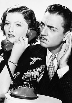 """Myrna Loy and William Powell from """"The Thin man"""" series."""