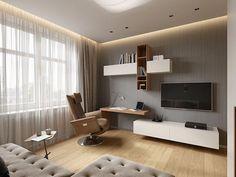 New Design Furniture Modular Offices Ideas Desk In Living Room, Living Room Grey, Small Living Rooms, Home And Living, Living Room Designs, Living Room Decor, Master Bedroom Interior, Bedroom Bed Design, Living Room Interior