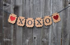 Adorable Rustic Chic XOXO Wedding Valentine's Day Banner, Fun Ideas For Engagement Kissing Booth Photo Prop, Valentines Hanging Decorations by Favors4Friends on Etsy